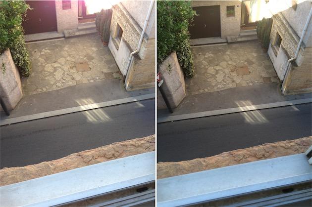 L'appareil photo de l'iPhone 5 (gauche) affichait de temps en temps un halo violet. Celui de l'iPhone 5s (droite) corrigeait ce défaut.