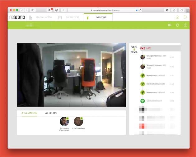 Une capture du site de Netatmo, qui fonctionne sans Flash, contrairement à d'autres. Il permet de faire tout ce que l'app peut faire: consulter l'historique et les clips associés, voir le flux en direct, identifier des «visages inconnus»… Netatmo utilise même les notifications web pour relayer les alertes de mouvement.