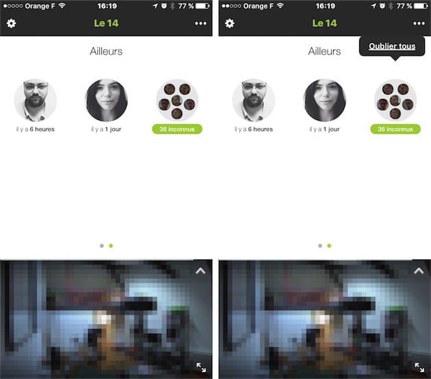 La caméra «connaît»deux personnes, et a détecté 36 visages, qu'il est possible d'«oublier» d'un tapotement sur l'écran.