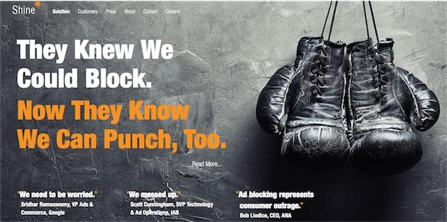 Page d'accueil de Shine, l'entreprise qui bloque la publicité.