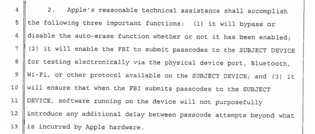 Quelques-unes des demandes du FBI.