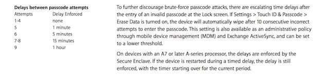 Un extrait du livre blanc sur la sécurité diOS.