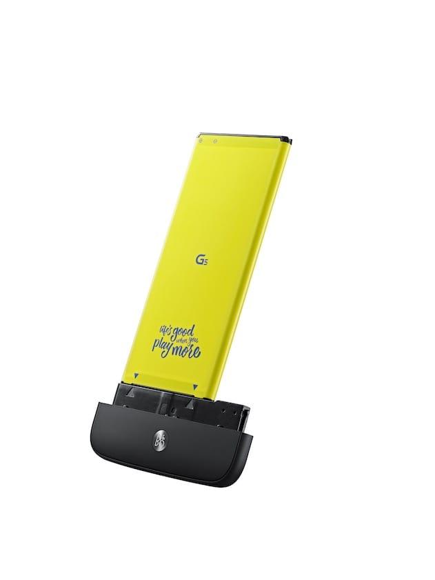 Le module Hi-Fi, avec la batterie du téléphone. Image LG.
