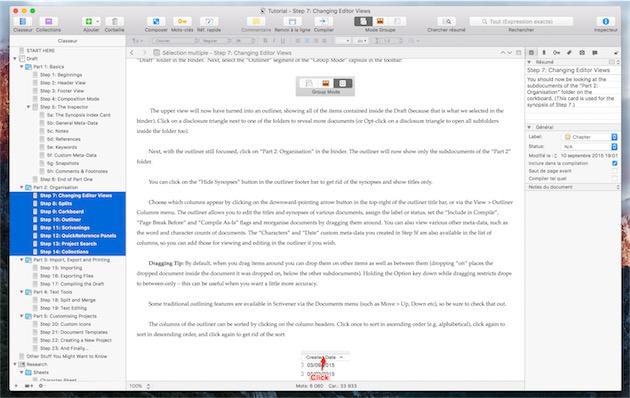 La dernière version de Scrivener, sur OSX. — Cliquer pour agrandir