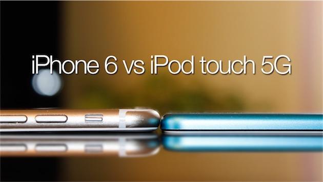 L'iPod touch est nettement plus fin que l'iPhone 6 (image iPhoneitalia)