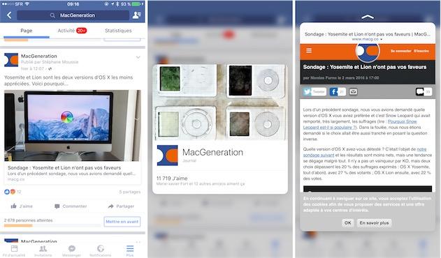 Peek et Pop dans l'application Facebook : on peut avoir un aperçu pour un profil (centre) ou pour un lien (droite).