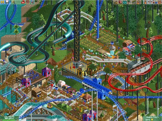 RollerCoaster Tycoon2 avec un parc bien rempli