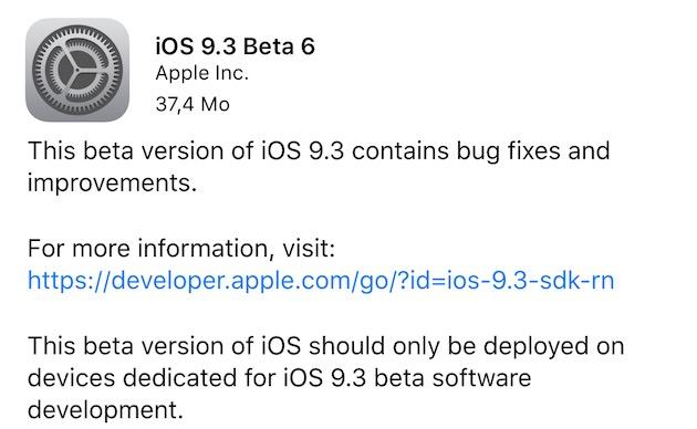 La nouvelle version est disponible, comme toujours, directement sur les terminaux où iOS9.3 est déjà installé. Comptez 37,4Mo pour un iPhone6sPlus.