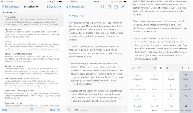Ulysses sur un iPhone6sPlus. Sur la capture de droite, on note le clavier spécifique à l'application, ici pour faciliter la saisie de texte en Markdown. — Cliquer pour agrandir