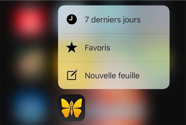 Sur les iPhone6s (Plus), on bénéficie aussi des raccourcis 3DTouch depuis l'écran d'accueil. On peut aussi utiliser des pressions plus fortes à l'intérieur de l'app, par exemple pour avoir un aperçu d'un document.