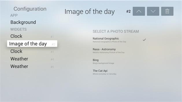 Réglages de Dashbd avec l'un des widgets, ici l'image du jour.