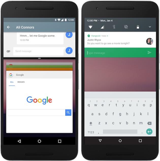 Android N sur un smartphone : à gauche, le partage d'écran à l'horizontale. À droite, une autre des nouveautés attendues : la possibilité de répondre rapidement depuis une notification.