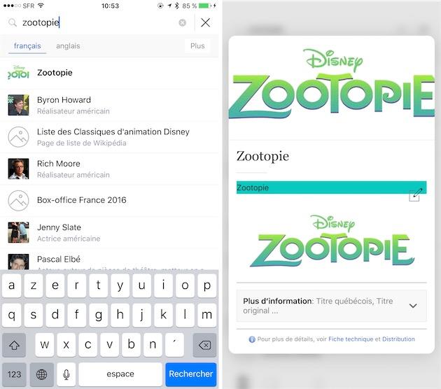 On peut désormais changer la langue instantanément en cas de recherche. À droite, l'une des utilisations de 3D Touch, en l'occurrence pour afficher un aperçu d'un article sans l'ouvrir complètement.
