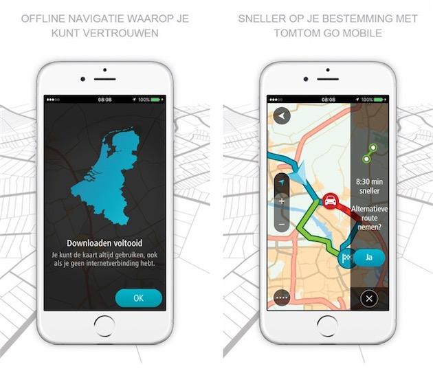 Interface de la nouvelle application. Sur la gauche, l'éditeur précise que l'on peut charger les cartes en local, sur l'iPhone.