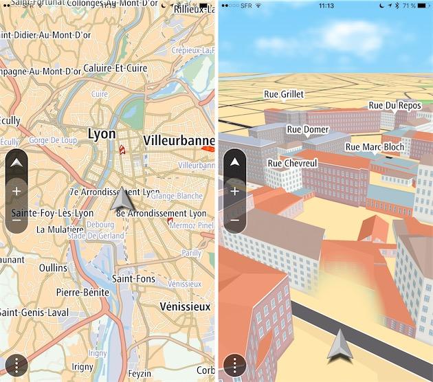 TomTom Go en 2D et en 3D. L'icône sur le côté, au-dessus des boutons dédiés au zoom, permet de passer d'un affichage à l'autre.