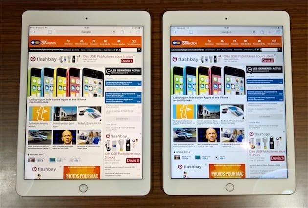 L iPad Pro est à gauche avec True Tone actif, l iPad Air 2 à droite — 4107d443ced4