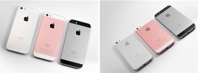 Trois des quatre coloris d'iPhone SE, qui varient selon l'angle et la luminosité. Le gris sidéral est associé à une façade et des fenêtres RF noires, les autres à une façade et des fenêtres RF blanches.