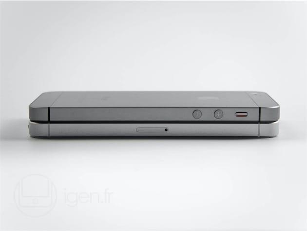 Où l'on retrouve le tiroir de la carte nano-SIM d'un côté, les boutons de volume et le commutateur du mode silence de l'autre. Apple ayant repris l'architecture interne de l'iPhone5/s, elle n'a pu caser un Taptic Engine dans l'iPhone SE : il utilise donc un bon vieux vibreur bien sec et bien bruyant.