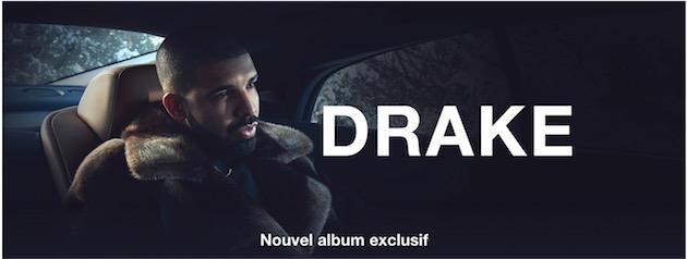 Comme à chaque fois, l'iTunes Store ne manque pas de rappeler l'exclusivité : vous ne verrez que Drake ce matin, sur l'accueil de la boutique.