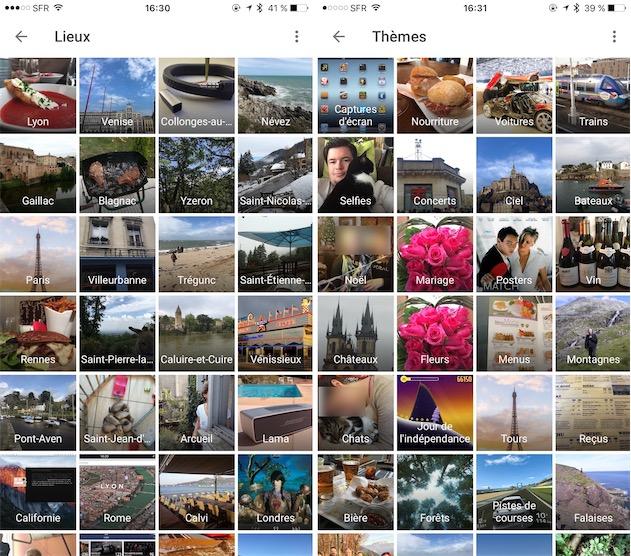 Regroupements automatiques de Google Photos : par lieu et par thème.— Cliquez pour agrandir