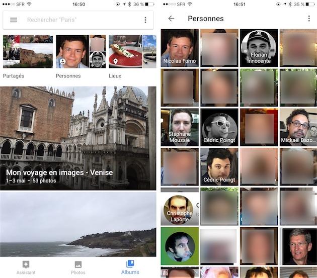 La vue dédiée aux albums gagne un raccourci vers les personnes (gauche). On retrouve alors une grille avec tous les visages identifiés par l'app et quand on les nomme, on retrouve naturellement le nom associé à chaque visage (droite).