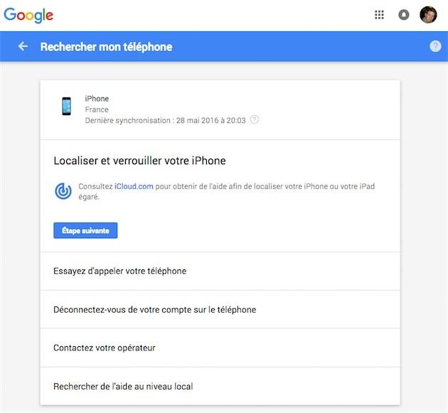 localiser mon iphone google