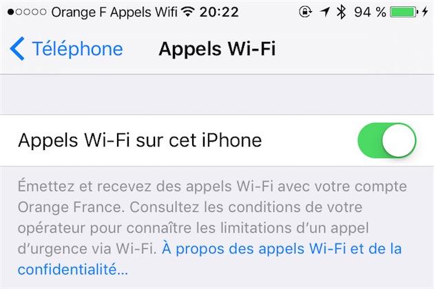 Un lecteur nous a envoyé cette capture : les appels Wi-Fi ont été activés par Orange ce soir.