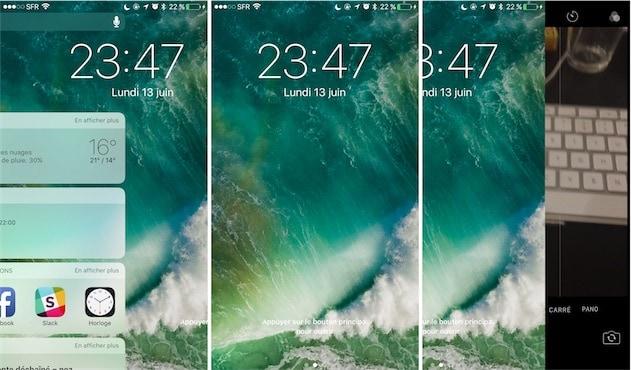 Sur l'écran verrouillé, on peut accéder aux widgets en glissant vers la droite, et à l'appareil photo en glissant vers la gauche. — Cliquer pour agrandir