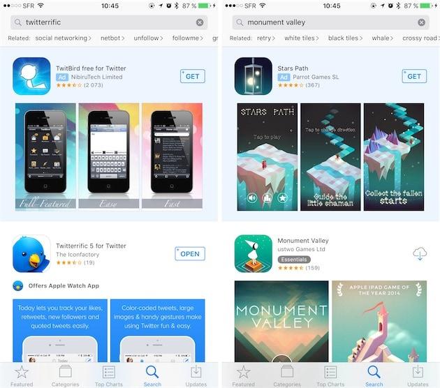 Deux cas de publicité parasite : en cherchant le nom d'une app, on tombe sur un concurrent, voire… sur une copie.