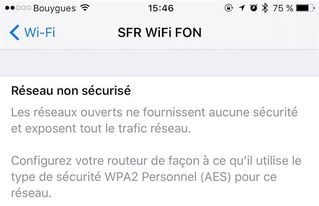 free wifi avis relatif a la securite