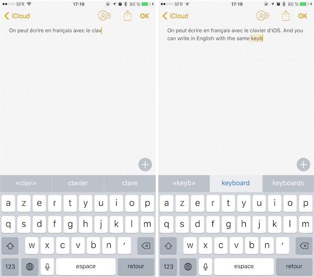 Du français (gauche) à l'anglais (droite) sans avoir à changer le clavier. Il était temps !