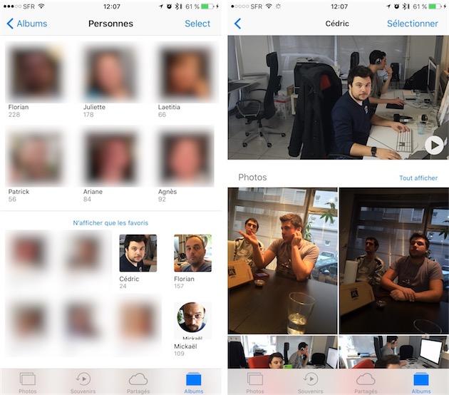 Reconnaissance des personnes sous iOS 10. À droite, la vue dédiée à une personne.