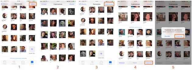 Fusion de deux visages, en allant chercher dans la liste des personnes reconnues, mais pas encore identifiées : c'est long… —  Cliquer pour agrandir