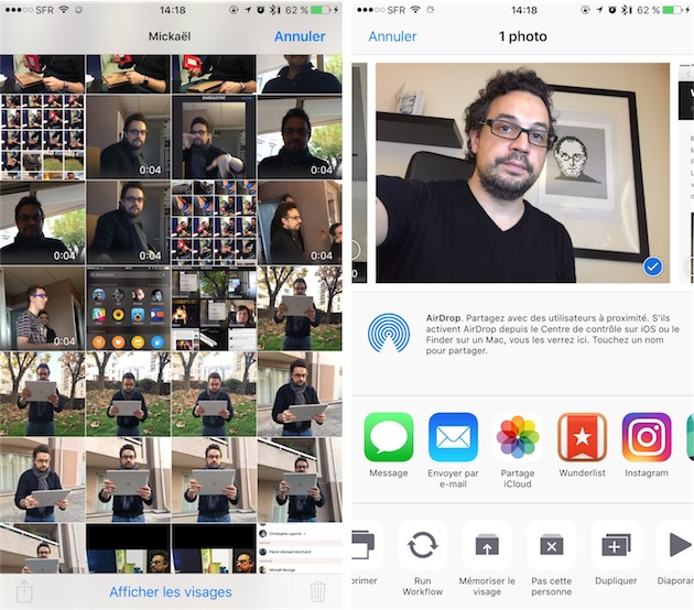 Ce n'est qu'en touchant le bouton de sélection en haut à droite quand on est dans la fiche d'une personne, que l'on peut sélectionner une (ou plusieurs) photo et enfin passer par le menu de partage pour corriger une mauvaise détection ou choisir d'en faire la photo principale associée au profil.