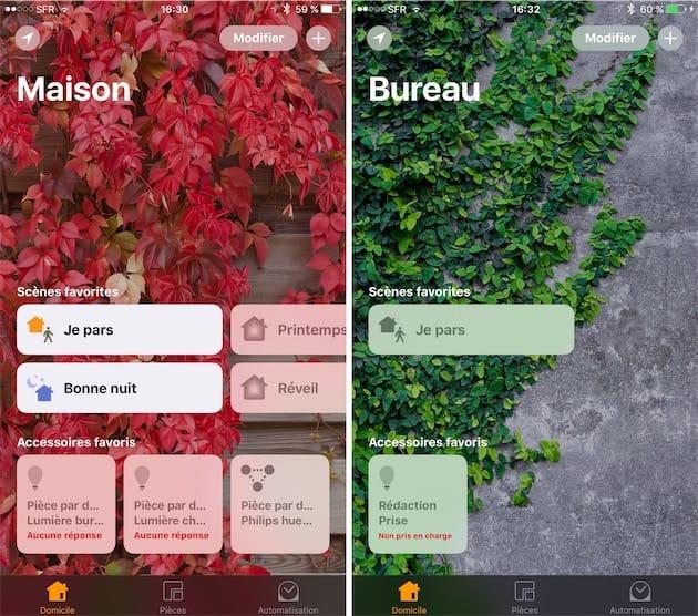 L'app Domicile en action sur un iPhone