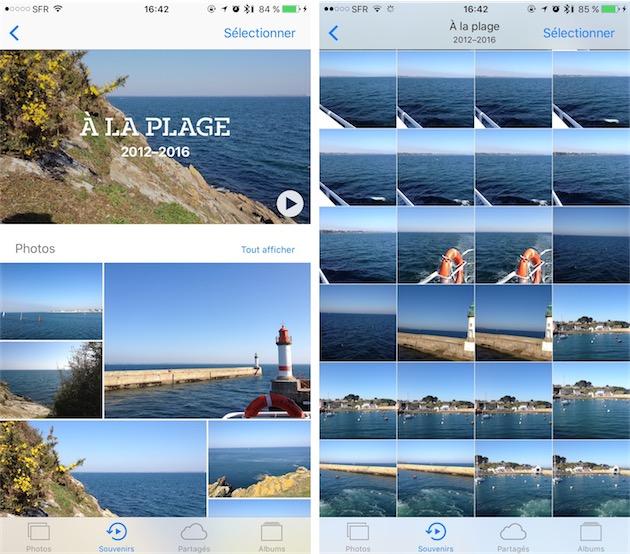 Ce souvenir rassemble des photos de séjours à la mer, avec un résumé qui ne conserve que les meilleures images (gauche) et la possibilité de tout afficher (droite).