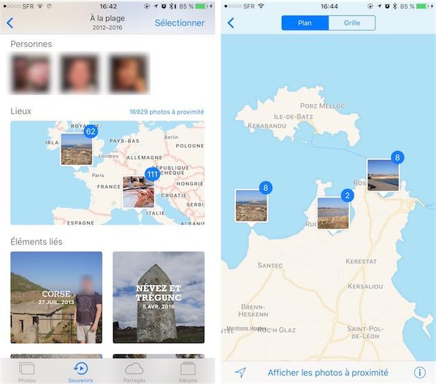 Chaque souvenir est associé à des personnes et des lieux, mais aussi à d'autres souvenirs (gauche). La carte peut être agrandie et on peut alors zoomer pour placer les photos très précisément (droite).