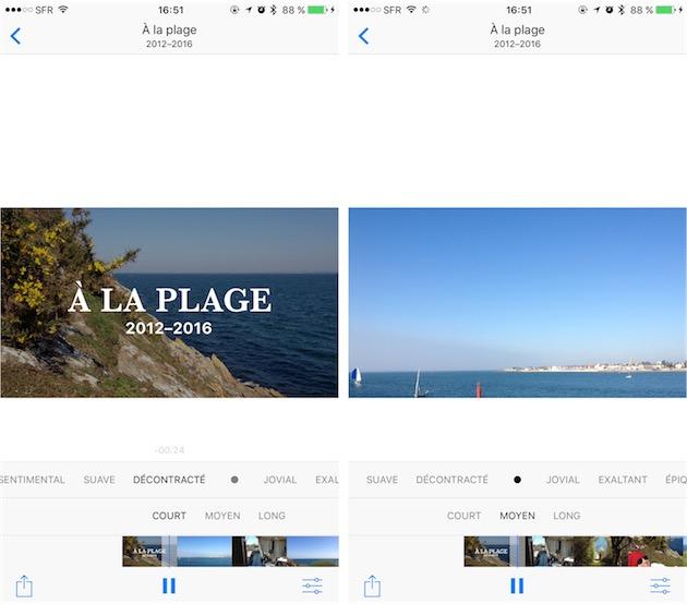 Photos génère des vidéos à partir de vos photos (et vidéos). Tout est automatique, mais l'utilisateur peut influencer sur le travail de l'application.