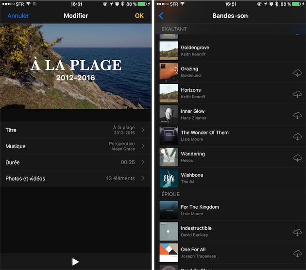 Modification d'une vidéo générée par Photos : à droite, sélection de la bande-son.
