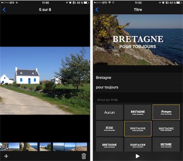 À gauche, sélection des photos et vidéos qui composeront le film. À droite, changement du titre, avec les différentes polices proposées par Photos.