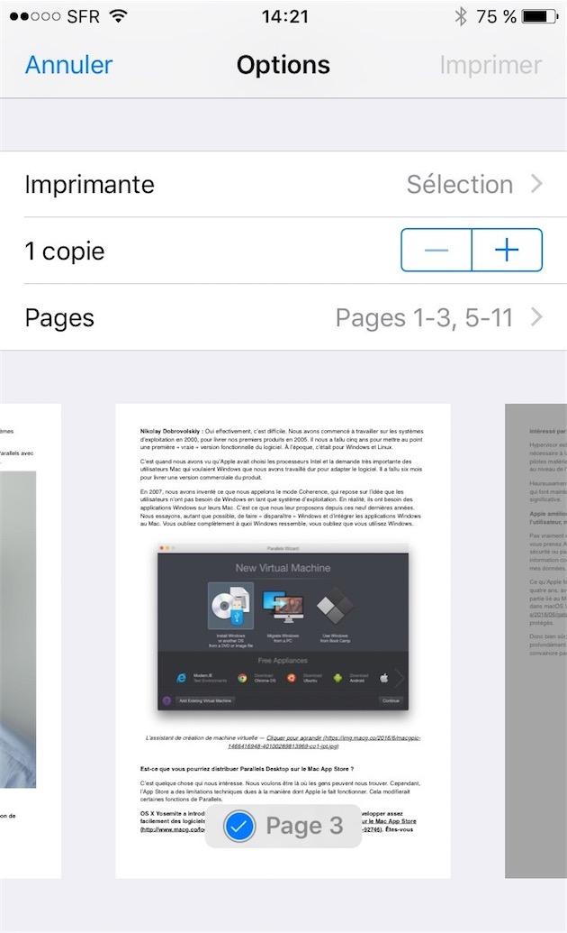iOS 10 simplifie l'impression en PDF