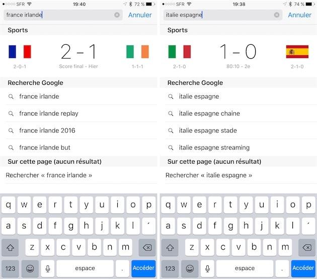 Le moteur de recherche d'Apple affiche les scores des derniers matchs (gauche), mais aussi de ceux en cours: à droite, la requête pendant un match en cours. — Cliquer pour agrandir