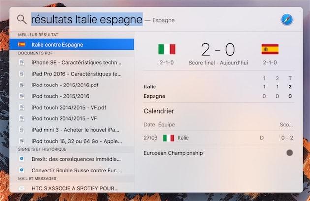 Spotlight, ici sur macOS, peut aussi afficher les résultats des derniers matchs. Dans ce cas de figure, on a d'autres informations, comme le nombre de buts marchés par mi-temps. — Cliquer pour agrandir