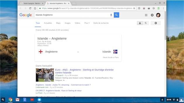 Confirmation : le match Angleterre - Islande va bientôt commencer ! Merci Google. — Cliquer pour agrandir