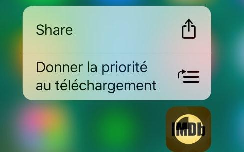 iOS 10: nouvelle action 3D Touch pour donner la priorité à un téléchargement