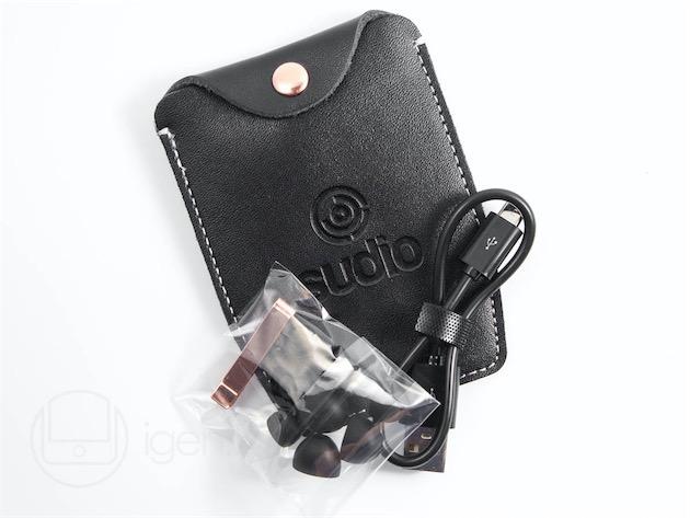 Les accessoires fournis : embouts, pince, pochette de transport, et câble micro-USB.