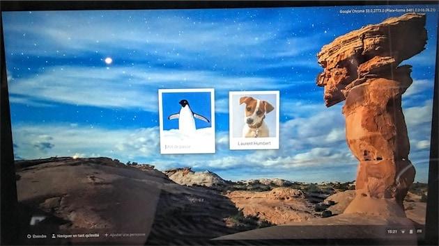 Au démarrage, écran de connexion avec deux comptes différents. — Cliquer pour agrandir
