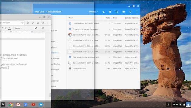 ChromeOS simplifie l'organisation des fenêtres quand on les colle sur le côté. Ici, on la fenêtre occupera la moitié de l'écran.