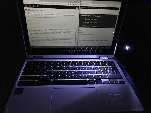 Quand on ne connaît pas le clavier et que l'on est dans l'obscurité, il faut improviser… À 300€, le rétroéclairage du clavier reste un doux rêve.