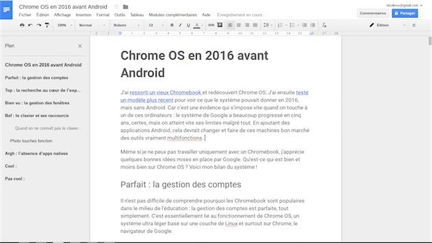 Google Docs, peut-être la meilleure app actuellement sur ChromeOS. — Cliquer pour agrandir